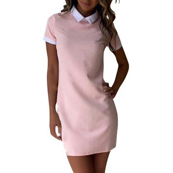 Women Turn-down Collar Short Sleeve Office Dress