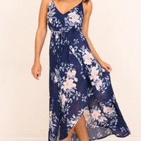 Thank Me Later dress in navy floral Produced By SHOWPO
