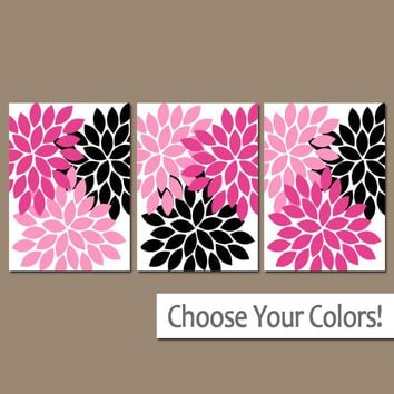 Hot Pink Black Wall Art, Baby Girl Nursery Art, Flower Wall Art, Girl Bedroom Wall Decor, Floral Bathroom Decor, CANVAS or Prints, Set of 3