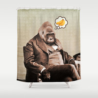 Gorilla My Dreams Shower Curtain by Peter Gross