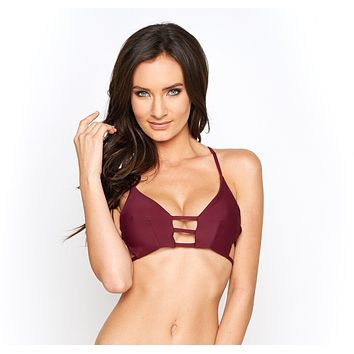 Montce Swim Maroon Cage Swimsuit Top
