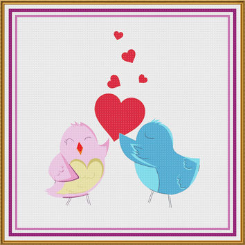 Contemporary Valentine Hearts Pink and Blue Love Birds Sew So Simple ™ Counted Cross Stitch or Counted Needlepoint Pattern
