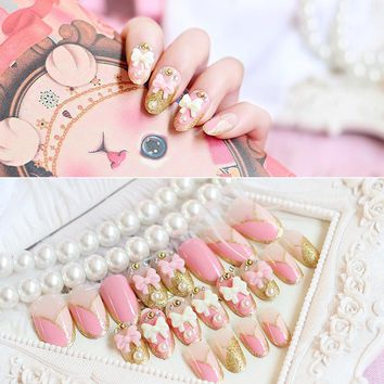 24pcs/lot Faux Ongles Full Cover False Nails 3D Pink Bow Glitter Pearl Rhinestone Artificial Nails Finished French Designs Bride