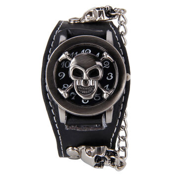 Black Punk Skull Watch