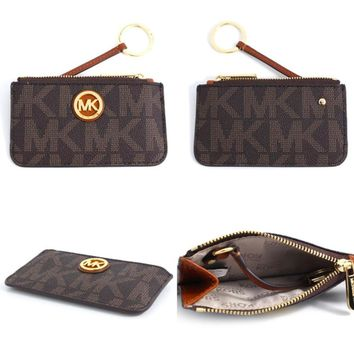 Michael Kors Fulton Key-Coin/ Card Pouch (Signature Brown)