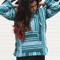 Small Baja Hoodie, Authentic Hand Woven Mexican Baja Hoodies Sweater, Bohemian Gypsy Beach Sweater Drug Rug, Teal