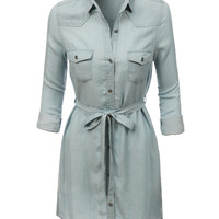 LE3NO Womens Casual Long Sleeve Button Down Denim Dress