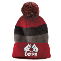 dope Striped Beanie with Removable Pom