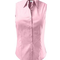 LE3NO Womens Lightweight Cotton Sleeveless Button Down Shirt