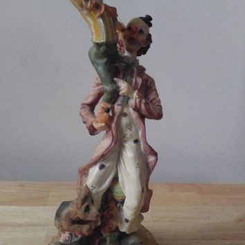 Vintage Porcelain Gift of Time Clown Statutes (Clown Holding another)(13 inches)