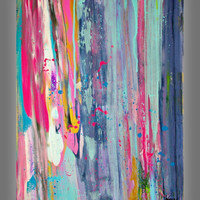 Abstract Painting Modern Painting - Original colorful Abstract Art in Acrylic on Canvas 28x22 inches