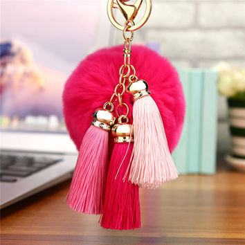 Flush Fur Pom Pom Keychain Faux Rabbit Fur Ball Key Chains Pompon Keyring Tassel Key Holder 8cm Pompom Car Ornaments Bag Pendant