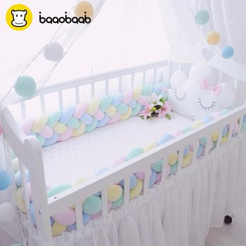 BAAOBAAB CW04 Knot Design Soft Baby Bed Bumper 4 Braid 2M Newborn Crib Pad Protection Cot Bumpers Bedding Accessories for Infant