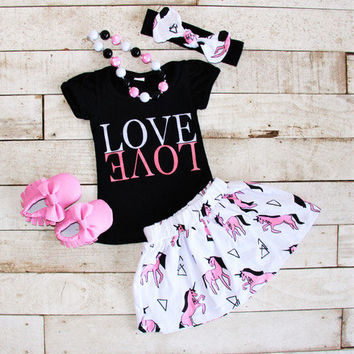 Girls Love Outfit, Girls Unicorn Clothing, Girls Unicorn Shirt, Girls Unicorn Skirt, Girls Clothing, Girls Summer Outfits, LOVE shirt