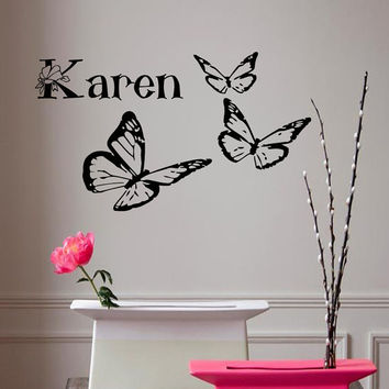 Wall Decals Personalized Name Butterflies Girl Room Home Vinyl Decal Sticker Kids Nursery Baby Room Decor kk356