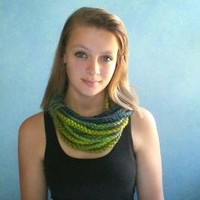 Crochet Chain Cowl in Blue and Green by KerreraSkye on Etsy