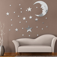 38pcs 3D Mirror Wall Stickers Moon and Stars Mirror Style Removable Decal Wall Decoration for Kids Room Wall Sticker Home Decor
