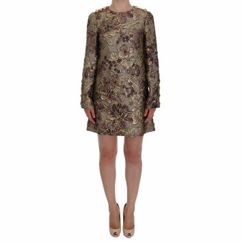 Dolce & Gabbana Gold Pink Floral Jacquard Shift Dress