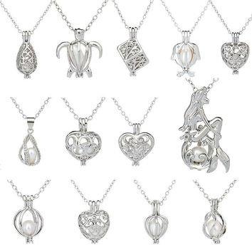 Pearl Pendant Necklace Love Wish Gift with Natural Oyster Pearl Hollow Locket Alloy Charm