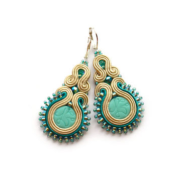 Earrings soutache Beige Teal Girlfriend gift Wife Bridesmaids Orecchini Boucles d'oreilles Pendientes beaded bijoux Anniversary gift Casual