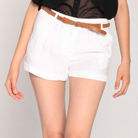 Soft Cabana Shorts w/ Belt in White