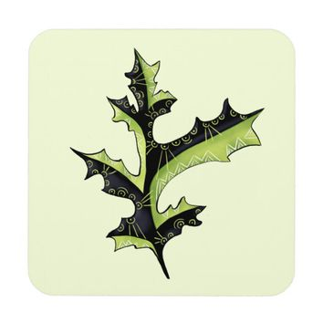 Decorative Oak Leaf With Tattoos Beverage Coaster