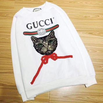 Kalete GUCCI Fashion Women Personality Cat Letter Print Long Sleeve Round Collar Pullover Top Sweater White I