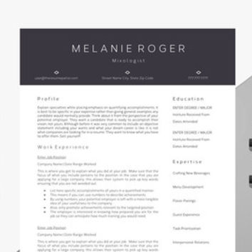 "Creative Resume Template | Professional Modern Resume | CV for Word | Mixologist Template | Bartender CV | ""The Mixologist"""