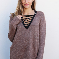 Can't Get Enough Lace-up Sweater {Mocha}