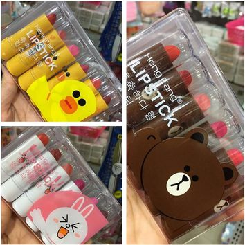 6Pcs/Lot 3.5g Cute Lipstick Yellow Duck Brown Bear Pink Rabbit Lipstick Lipgloss Waterproof Easy to Wear Lip Stick with Box