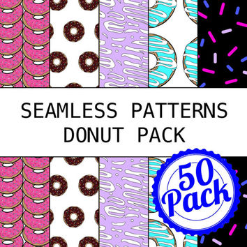 Printable Seamless Patterns - Donut Pack - Digital Scrapbook Paper