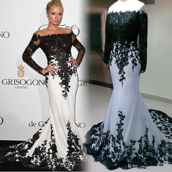 Black Applique White Satin Mermaid Prom Dresses