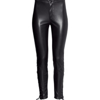 H&M - Imitation Leather Pants - Black - Ladies