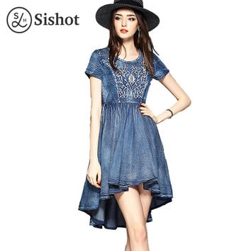 Sishot women casual dresses 2017 summer denim short sleeve mid calf blue o neck embroidery asymmetrical round neck casual dress
