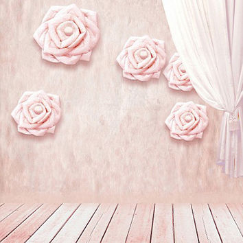 5feet*6.5feet background Paper roses curtain photography backdropsvinyl photography backdrop 3159 LK