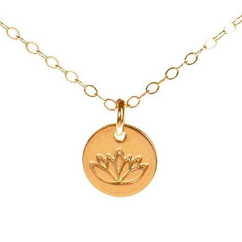Lotus Necklace, Tiny Gold Filled Yoga Pendant on 14k Gold Filled Chain, Dainty Zen Flower Charm