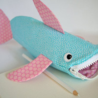 Shark Toy Bag Pencil Case Fun Zipper Pouch Office Organizer - Fish Bag Cute Kids Gift - Kids Bag: Beach Bubbles Shark Bite