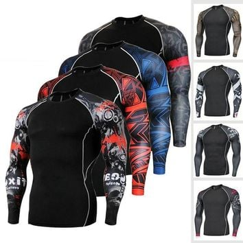 Men's Digital Print Quick-dry Compression Shirt