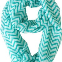Vivian & Vincent Soft Light Weight Zig Zag Chevron Sheer Infinity Scarf (Teal/White)