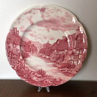 Vintage 1970s Olde English Countryside Pink Dinner Plate by Johnson Bros/ Retro Dinner Plate / Transferware
