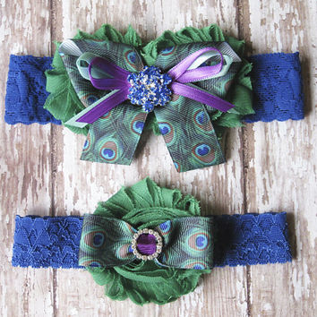 Peacock Garter Set | Jewel Tone Peacock Print Wedding Garters | Bridal Garter and Toss Garter