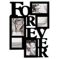 """Adeco Black Wood """"Forever"""" Collage Hanging Picture Photo Frame, 5 Openings, 5x7"""", 4x6"""", 4x4"""""""