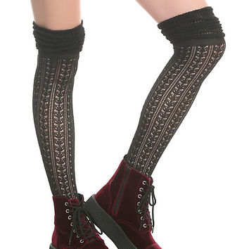 Black Pointelle Over-The-Knee Scrunch Socks