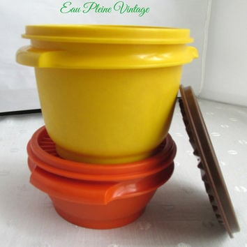 Tupperware Servalier Storage Bowls Yellow Orange Two Vintage Additional Brown Lid