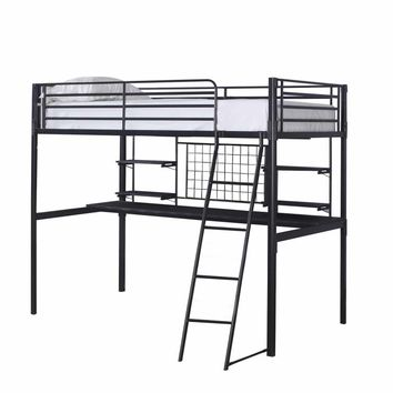 Boltzero collection black finish metal frame twin loft bed with desk underneath