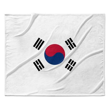 "Bruce Stanfield ""Flag of Korea"" White Digital Fleece Throw Blanket"