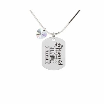 Inspirational Tag Necklace In AB Made With Crystals From Swarovski  - PRIORITY