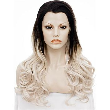 Long Black To Ash Blonde Sunset Ombre Wave Synthetic Lace Front Wig
