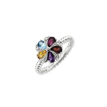 Gemstone, 1pt Diamond & Sterling Silver Stackable 11mm Flower Ring