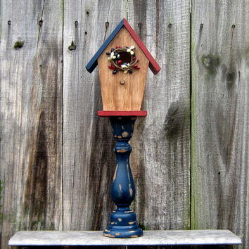 Decorative Birdhouse, Pedestal, Primitive, Painted Wood, Bird House, Stained, Americana, Red, White, Blue